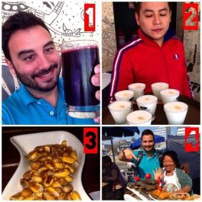 chicha morada, cebiche y canchitas en peru